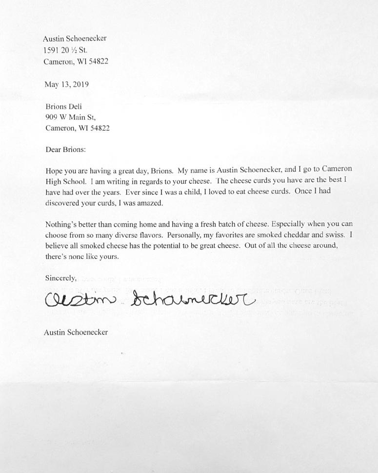 Letter To BRION'S DELI